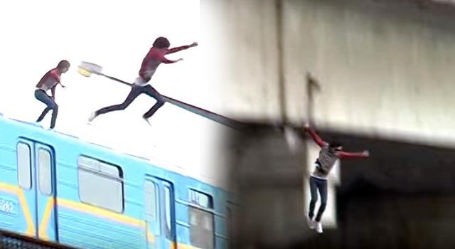ระทึก!! หนุ่มยูเครนกระโดดจากหลังคารถไฟ ลงแม่น้ำ (คลิป)