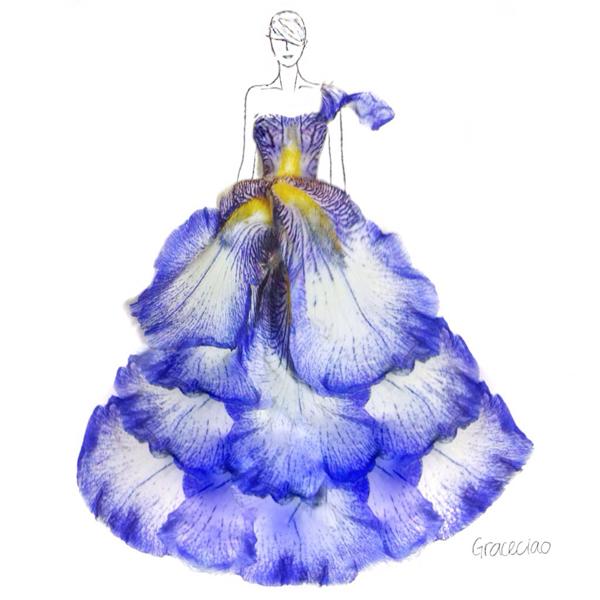 สุดทึ่ง!! ดีไซเนอร์สาว  ออกแบบชุดจากกลีบดอกไม้