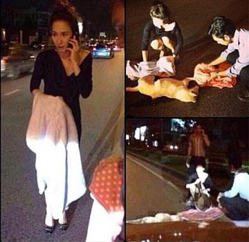 """""""อั้ม พัชราภา"""" นางเอกใจบุญช่วยสุนัขโดนรถชน"""