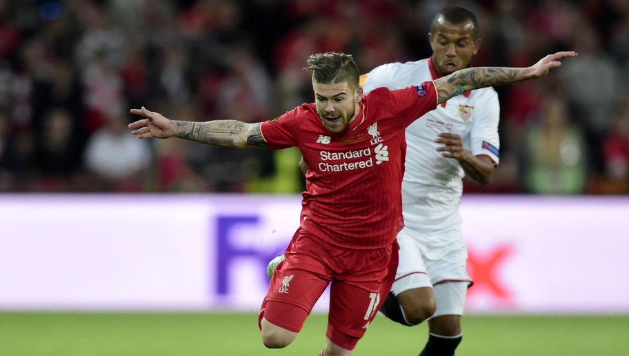 Liverpool's Spanish defender Alberto Moreno (L) runs with the ball during the UEFA Europa League final football match between Liverpool FC and Sevilla FC at the St Jakob-Park stadium in Basel, on May 18, 2016. AFP PHOTO / JAVIER SORIANO / AFP / JAVIER SORIANO (Photo credit should read JAVIER SORIANO/AFP/Getty Images)