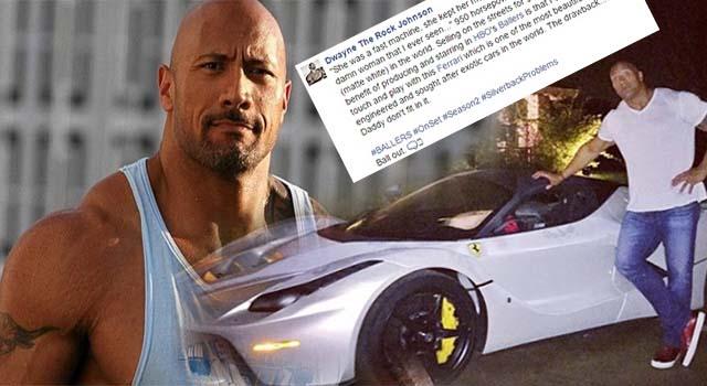 """อุต๊ะ!!! ไม่เชื่อก็ต้องเชื่อ """"The Rock"""" ยังต้องยอมกับปัญหา…การนั่งรถ """"La Ferrari"""" !!!!"""