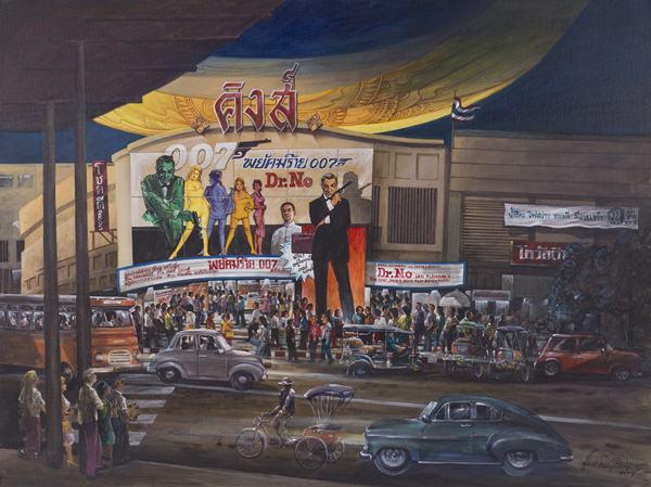"""หาดูยาก!! รวมภาพวาดโรงหนังในอดีต จากนิทรรศการ """"เส้นทางชีวิตจากบ้านนอก สู่บางกอกฯ"""" ฝีมือวาดสุดยอดจริงๆ"""