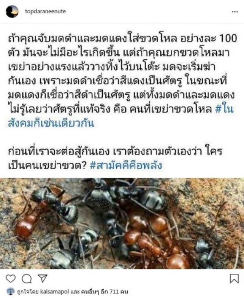 """""""ท็อป ดาราณีนุช"""" โพสต์ระบาย เตือนคนไทย กลัวเราจะต่อสู้กันเอง!!"""